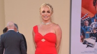 Britney Spears Wearing a Red Dress at an Event in LA