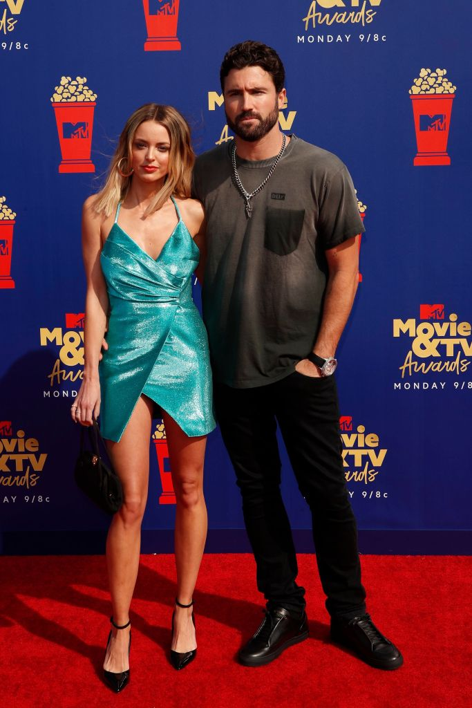 Kaitlynn Carter Wearing a Blue Dress With Brody Jenner
