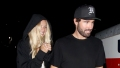 PAID FOR - ONE TIME USE brody jenner wears black t shirt and black hat, his rumored girlfriend josie canseco wears black hoodie during date night