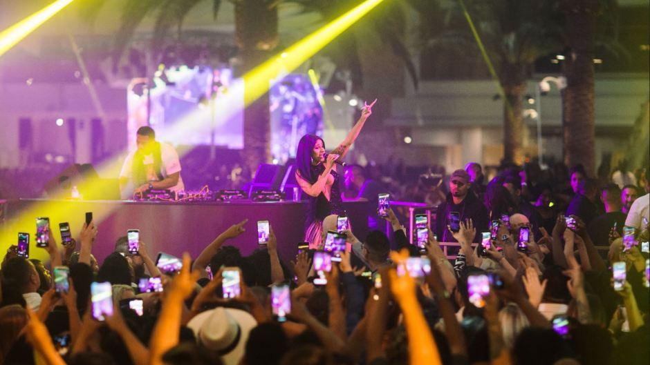 Cardi B performing onstage in Las Vegas