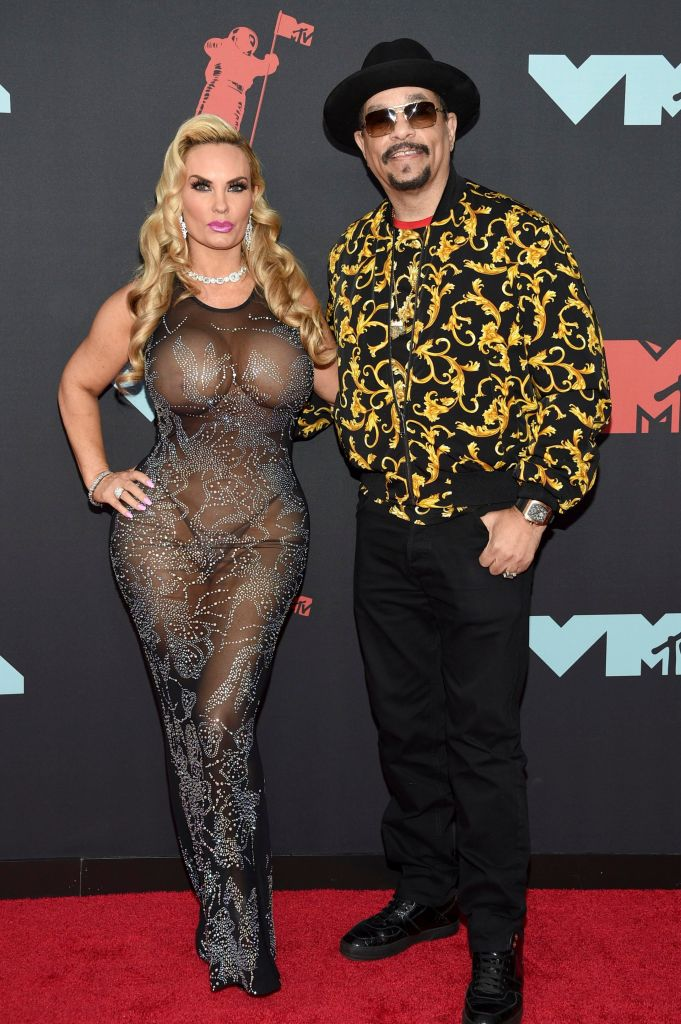 Coco Austin Steps Out in Sexy, Sheer, Studded Dress For 2019 MTV VMAs with Ice-T Wearing Black Pants and Yellow Print Shirt