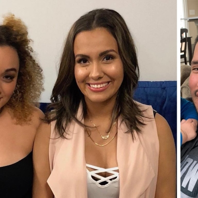 Side-by-Side Photos of Brittany and Briana DeJesus Next to Javi Marroquin