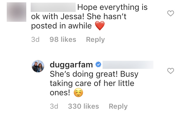 Duggar Family Reassures Fans Jessa Is Doing Great