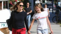 Jennifer Garner Walking With Daughter Violet Wearing Red Shorts