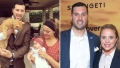 Jeremy Vuolo Holding Orange Cat and Jinger Duggar Holding Baby Split With Photo of The Couple