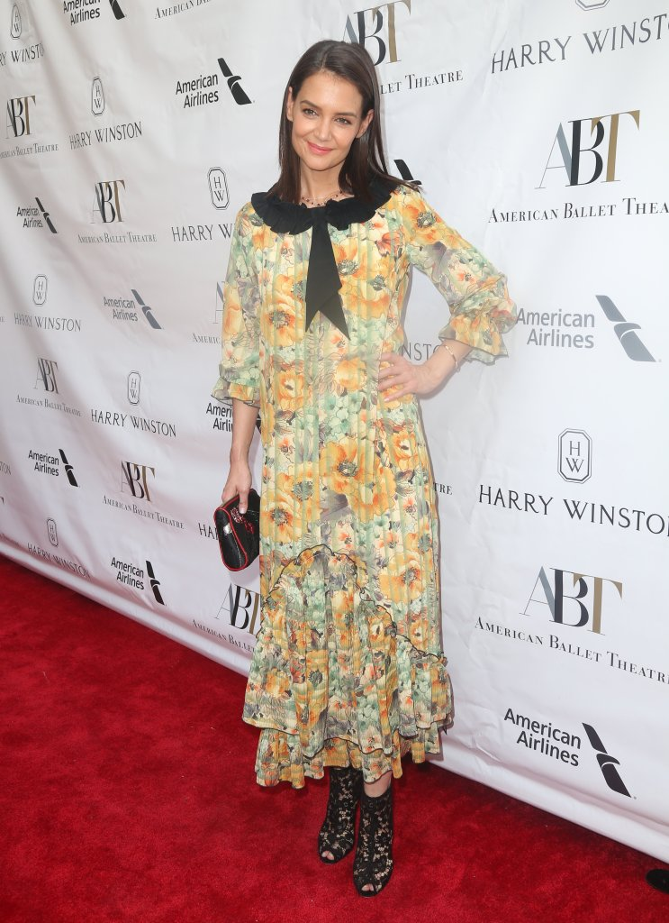 Katie Holmes Wearing a Floral Dress