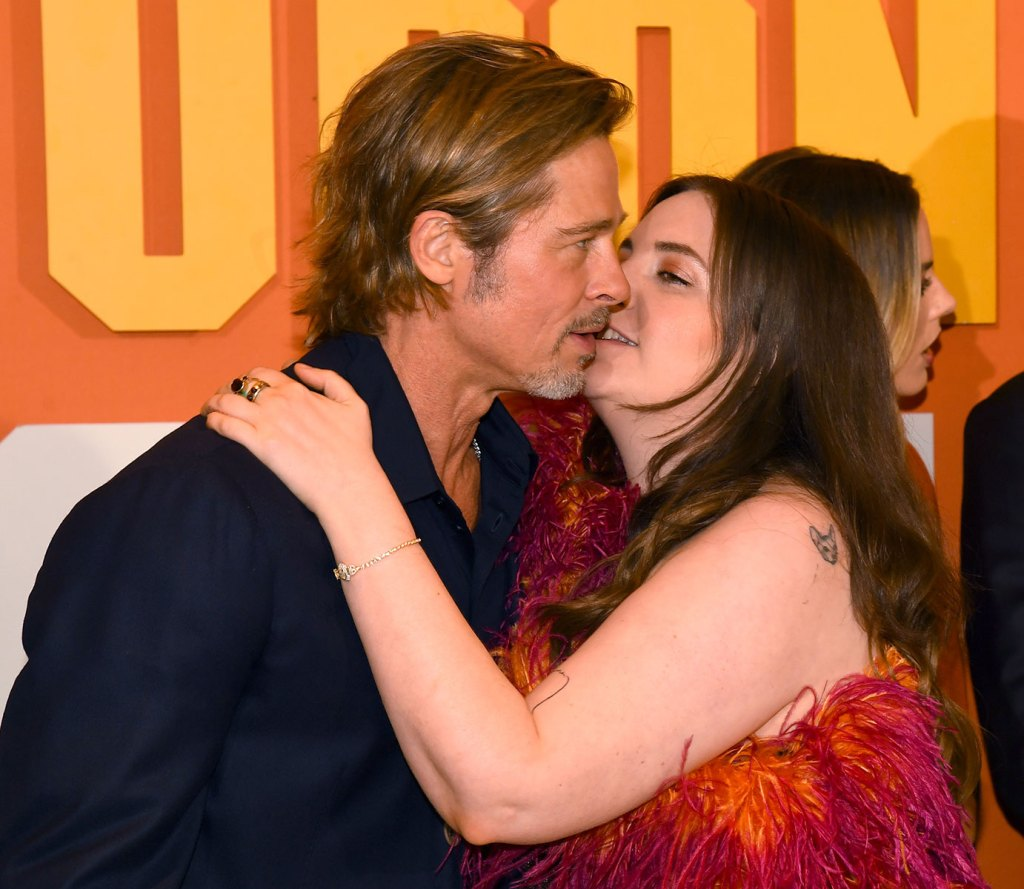 Lena Dunham Leans in for a Kiss With Brad Pitt at the 'Once Upon a Time in Hollywood' Premiere