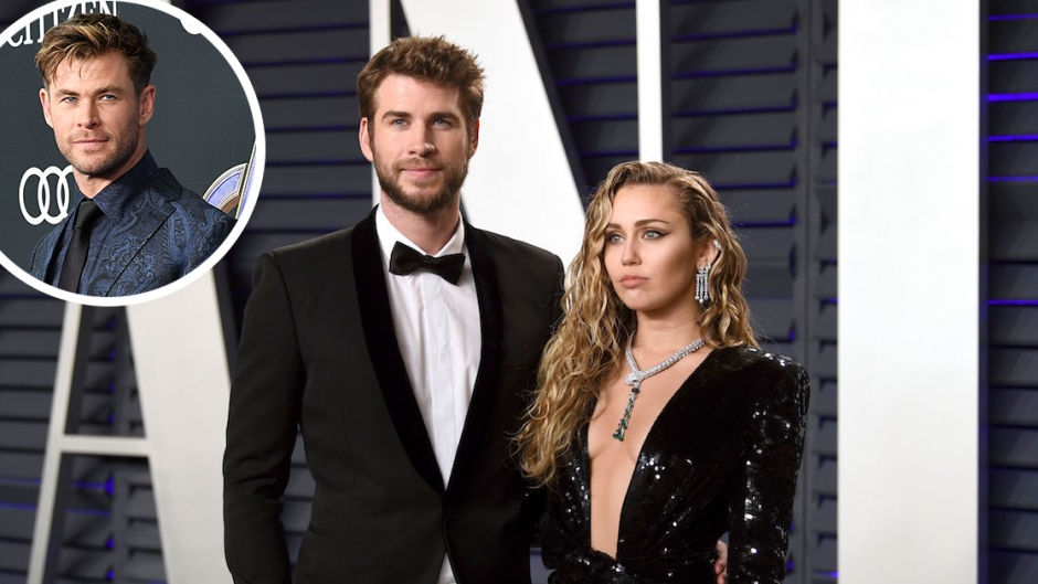 In-set Photo of Chris Hemsworth over Photo of Miley Cyrus and Liam Hemsworth