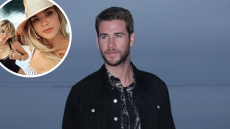 Bubble of Miley Cyrus and Kaitlyn Carter Taking a Selfie over Liam Hemsworth Looking to the Side