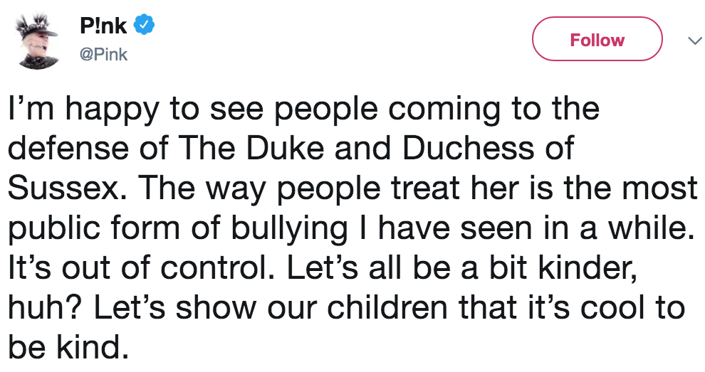 Pink Defends Meghan Markle Public Bullying