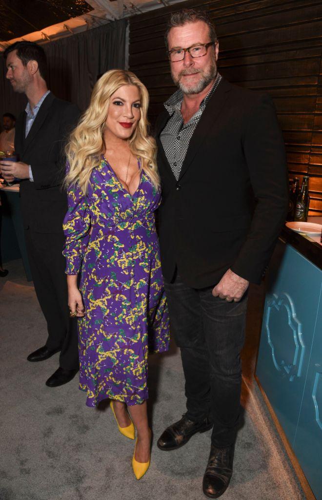 Tori Spelling Wearing a Flower Dress With Dean McDermott