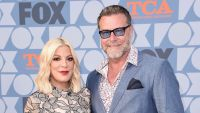 Tori Spelling Wearing a Dress With Dean McDermott in Sunglasses and a Blue Tuxedo