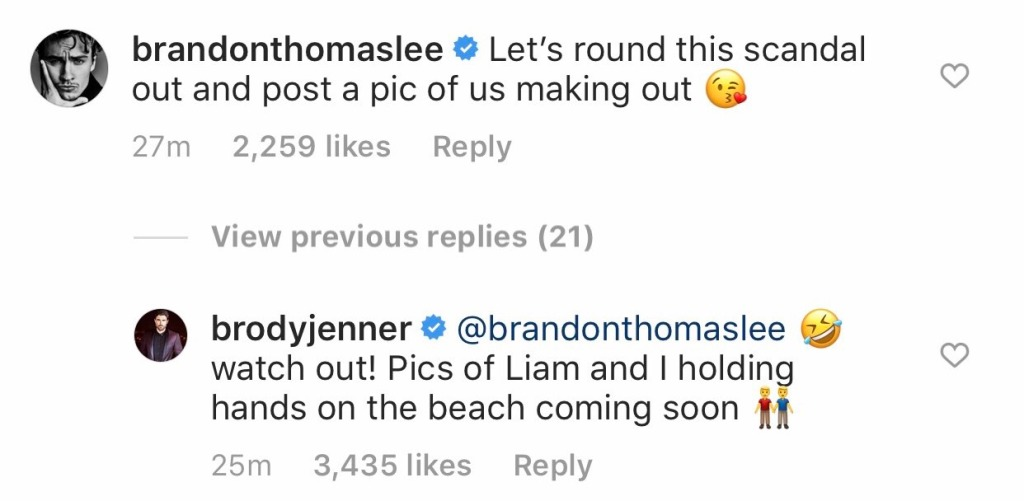 Brody Jenner and Brandon Thomas Lee Comments