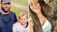 first photo features jenelle evans' husband david eason wears a baseball cap and a navy blue t shirt posing with her son kaiser griffith who is wearing a white netted football jersey, second photo features jenelle evans wewaring a white tank top with a graphic print and her long brunette hair in loose waves former teen mom 2 star jenelle evans gushes over her husband david eason's bond with her son kaiser griffith