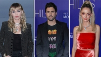miley cyrus wearing a black blazer with her blonde hair in waves, brody jenner wearing a graphic t-shirt under a black blazer and kaitlynn carter wears her blonde hair in a high pony tail with a red sleeveless dress kaitlynn carter split from brody jenner before her miley cyrus hookup