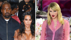 kanye west wears a white t shirt and navy blue jacket kim kardashian wears a nude fitted corset mini dress at the met gala, taylor swift wears a pink top as she stands in front of a floral wall during her good morning america performance kanye west taylor swift 2016 feud