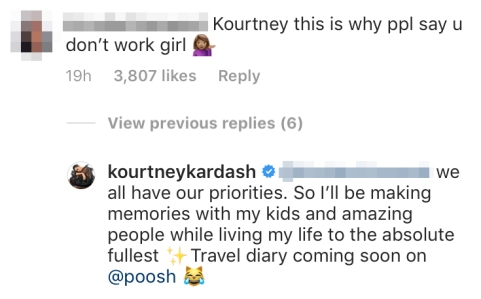 Kourtney Kardashian Claps Back at Troll Who Implies She Takes Too Many Vacations and Doesn't 'Work'