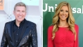 split image of todd chrisley wears a black shirt under a sparkly black blazer while lindsie chrisley wears a long sleeve red mini dress todd chrisley lindsie fight sex tape