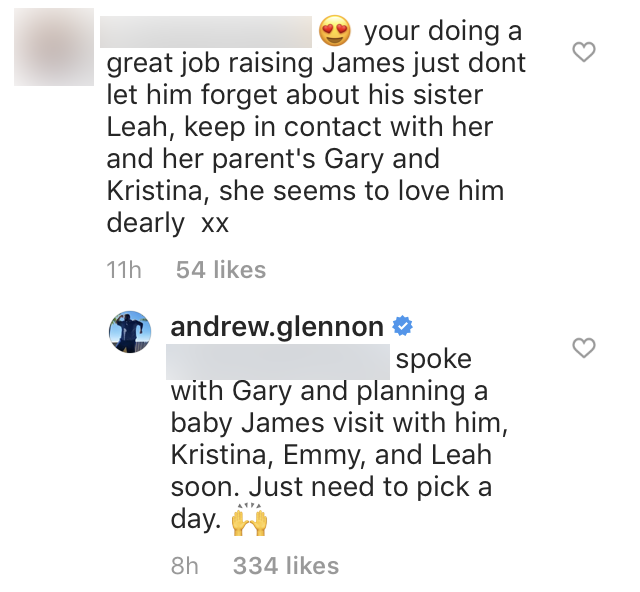 Andrew Glennon Tells Fan He Plans to Visit Gary and Leah with James