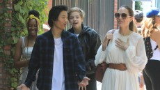 Angelina Jolie Wearing a White Dress With Her 3 Kids