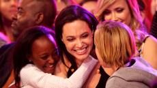 Angelina Jolie Wearing a Black Dress With Zahara and Shiloh