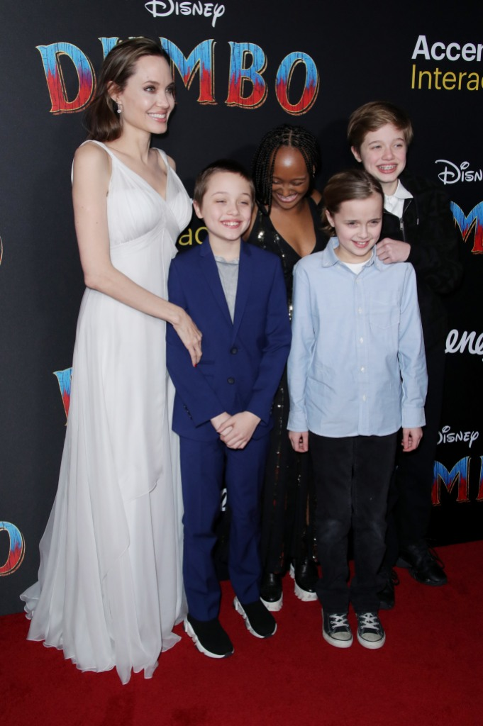 Angelina Jolie and Her Family on a Red Carpet