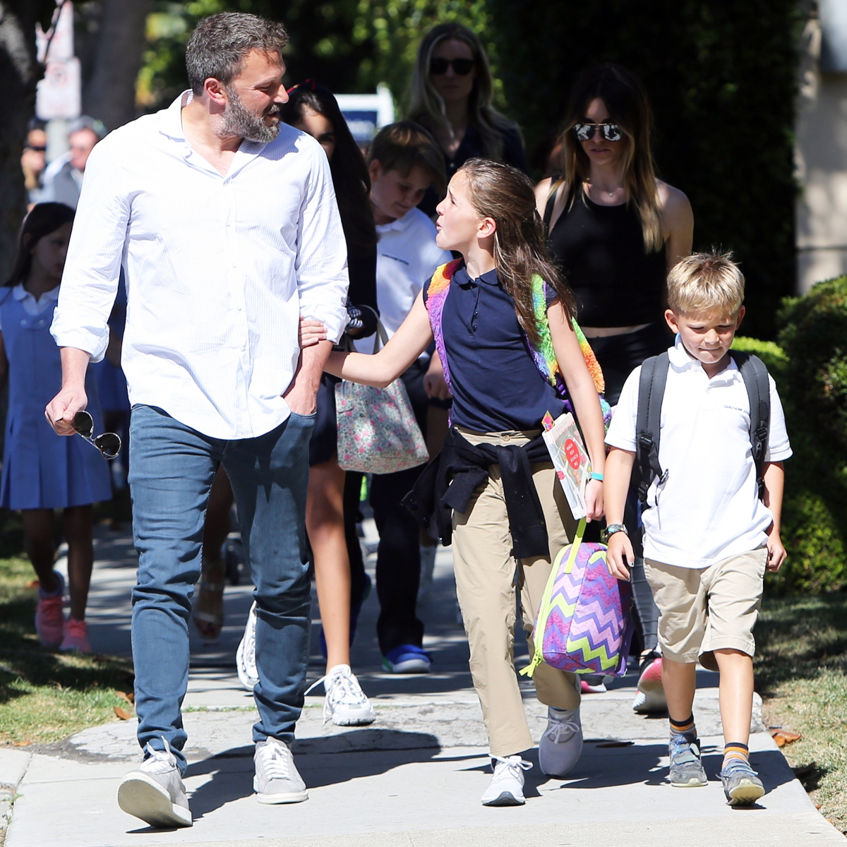 Ben Affleck's Daughter Seraphina Sweetly Holds His Arm After He Picks Her and Samuel Up From School