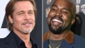 Side-by-Side Photos of Brad Pitt Smiling and Kanye West Laughing
