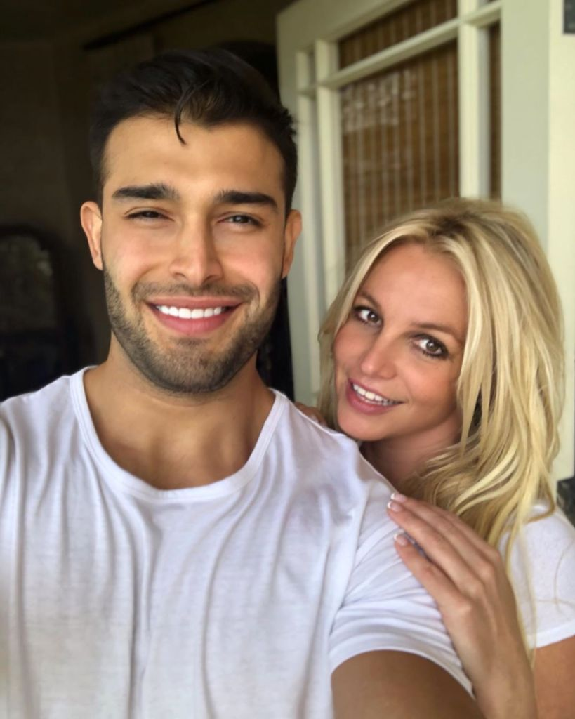 Britney Spears Wearing a White Shirt With Sam Asghari