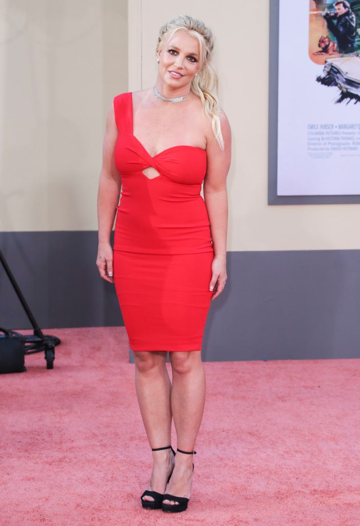 Britney Spears Wearing a Red Dress on the Carpet