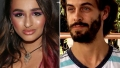 Jazz Jennings Closeup Looking Serious Wearing V Neck Magenta Dress With Matching Eye Makeup with Split of Derick Dillard With Unkempt Beard Smirking Wearing T Shirt and Bandanna On His Head