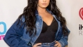 Demi Lovato Poses in Black Lace Bodysuit With Jean Garter Belt and Matching Jacket
