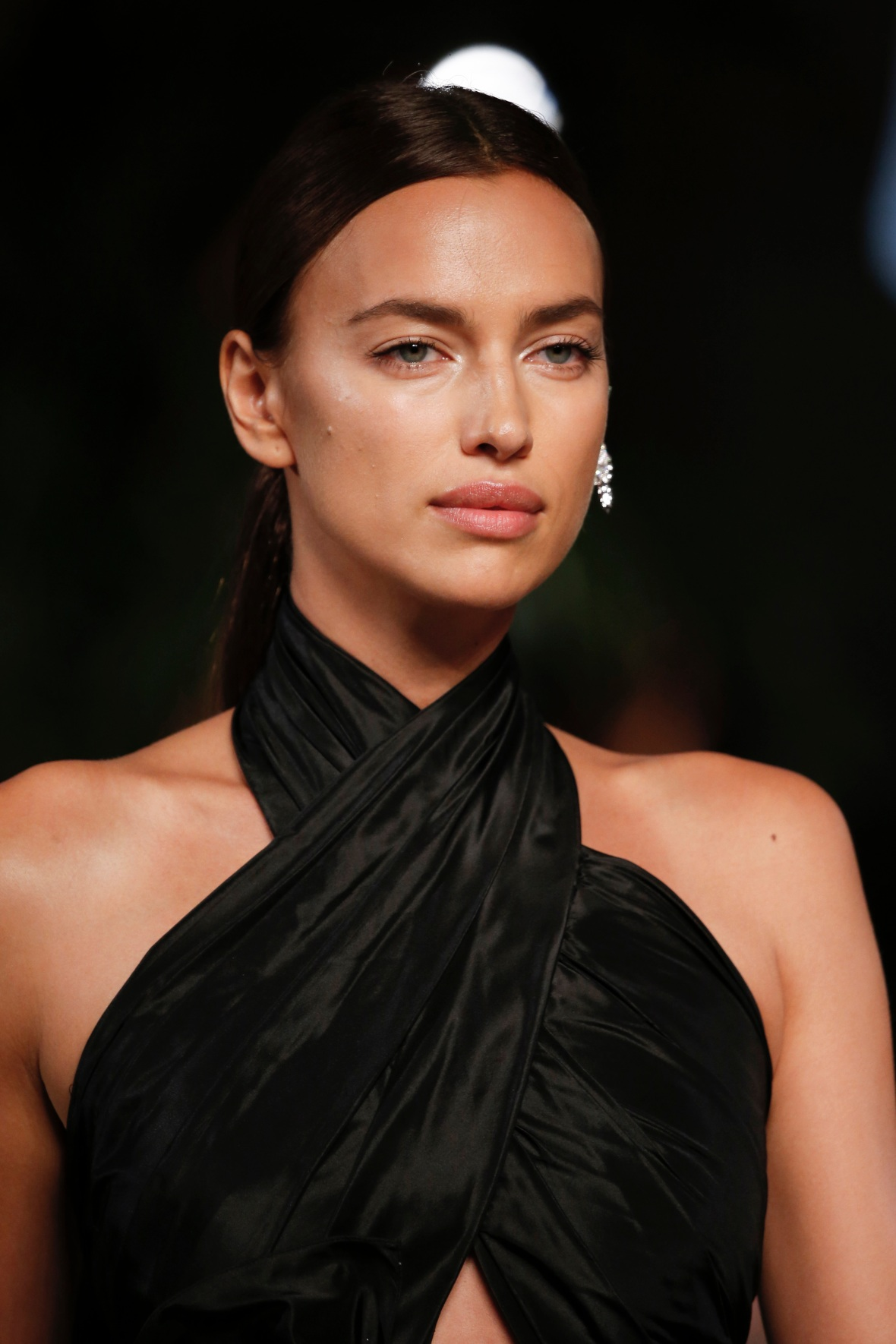 Irina Shayk Wearing a Black Dress at an Event