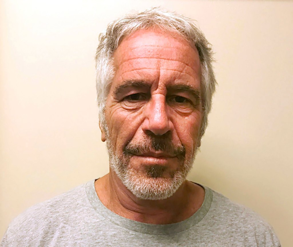 Jeffrey Epstein poses in a police photo / mugshot