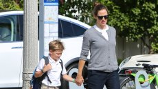 Jennifer Garner tends to Monday duties as she picks up son Samuel from school with a smile