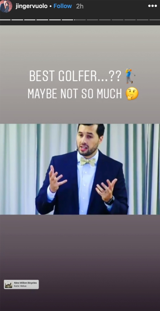 Screenshot from Jinger Duggars Instagram Story In Which She Playfully Jokes about Her Husband With a Photo of Him Speaking on a Gradient Gray Background