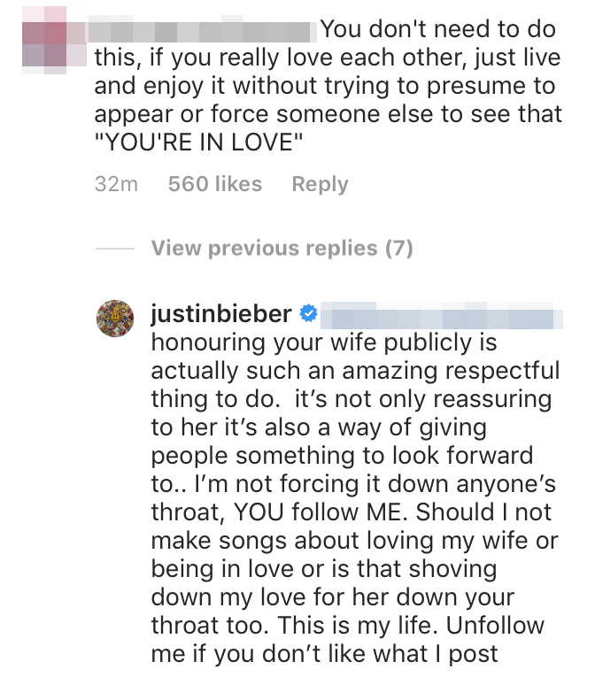 Justin Bieber Responds to Troll Over Picture of Hailey Baldwin