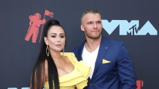 Jenni JWoww Farley Wearing a Yellow Dress With Zack Carpinello in a Blue Suit at VMAs