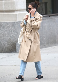 Katie Holmes Wearing a Trench Coat in NYC While on the Phone