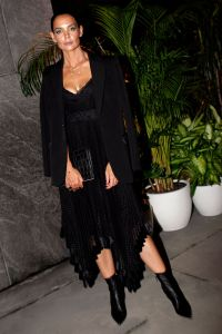 Katie Holmes Wearing a Black Outfit at NYFW