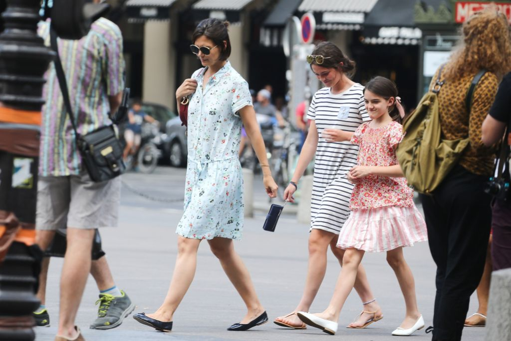 Katie Holmes Wearing a Blue Dress With Suri Cruise