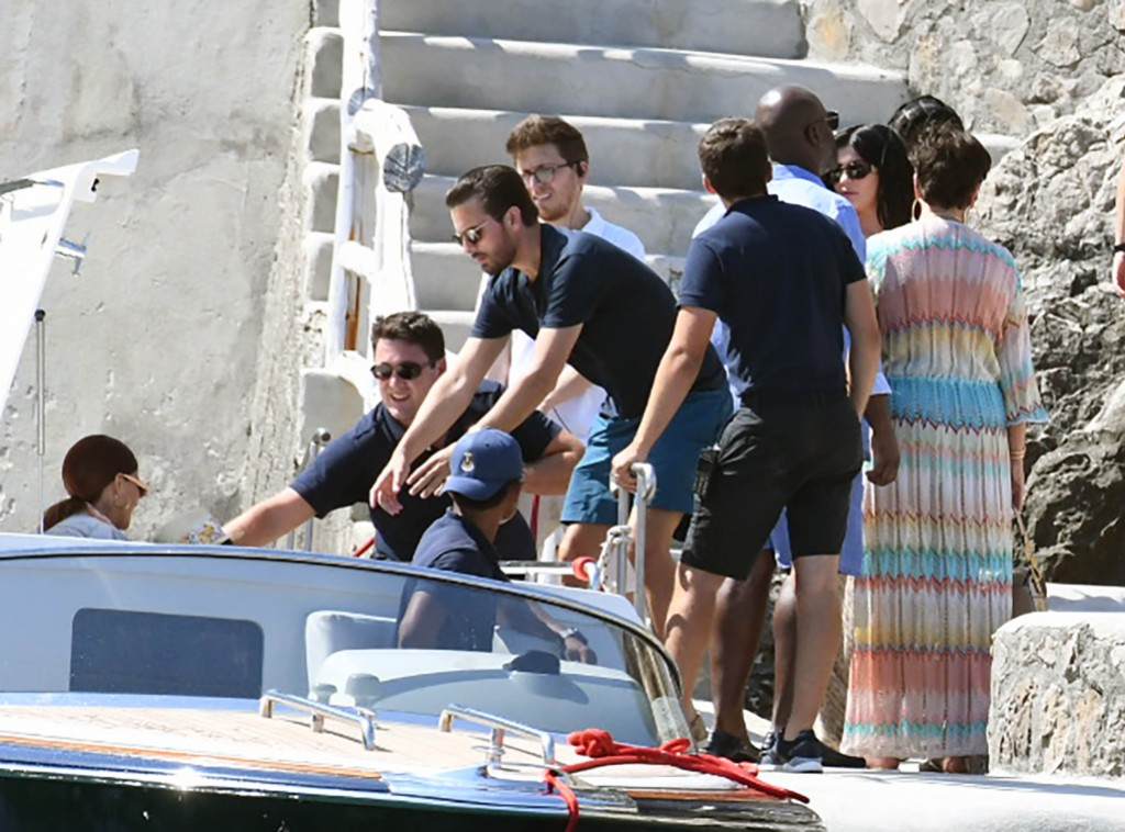 Kris Jenner, Corey Gamble, Scott Disick in Italy
