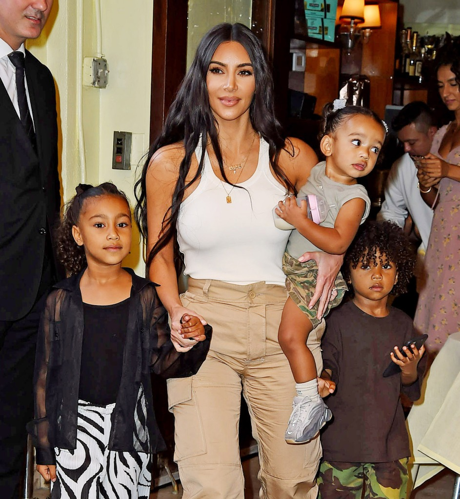 Kim Kardashian Holds Chicago West and North West With Saint West Walking Behind in NYC