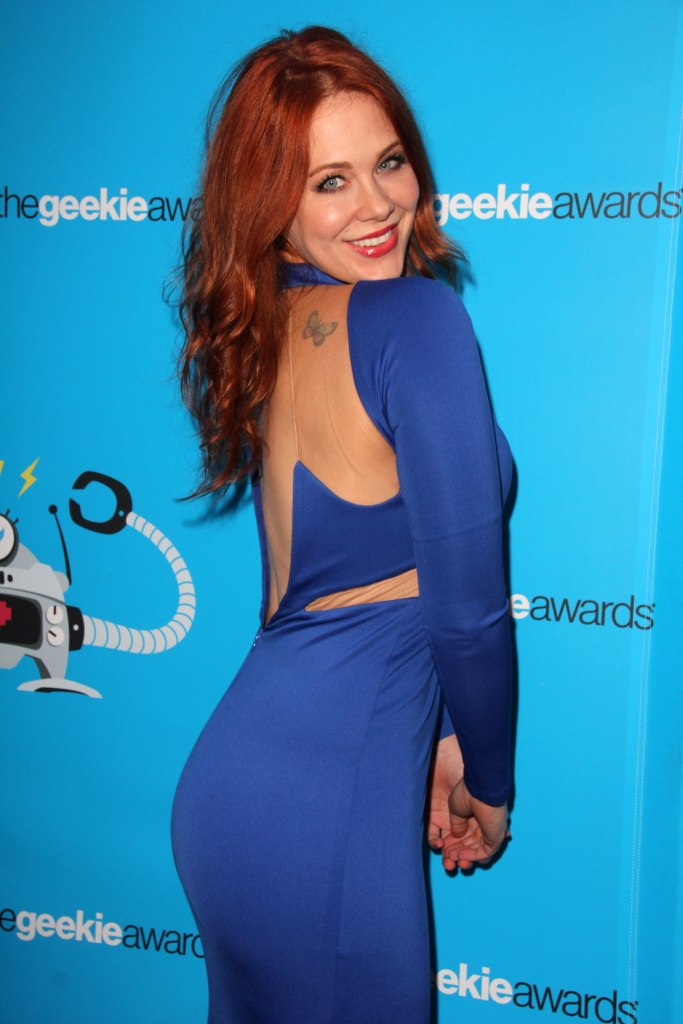 Maitland Ward Wearing a Blue Dress