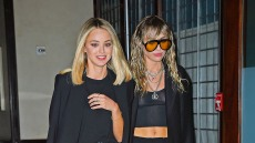 Miley Cyrus Wearing a Black Outfit With Sunglasses With KAitlynn Carter