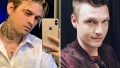 Side-by-Side Photos of Aaron Carter Taking Mirror Selfie and Nick Carter Smiling for Selfie
