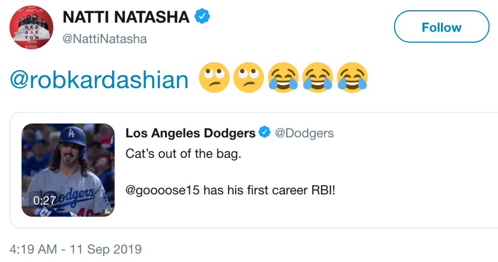 Rob Kardashian Continues to Flirt It Up With Natti Natasha on Twitter: 'Why You Laughing?'