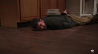 Man Lying On Ground With Plates on His Back on SVU