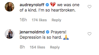 audrey roloff and jen arnold comment on adam busby's post about jarrid wilson's death