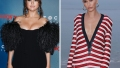 Side-by-Side Photos of Selena Gomez in Black Dress and Hailey Baldwin in Red-White Dress